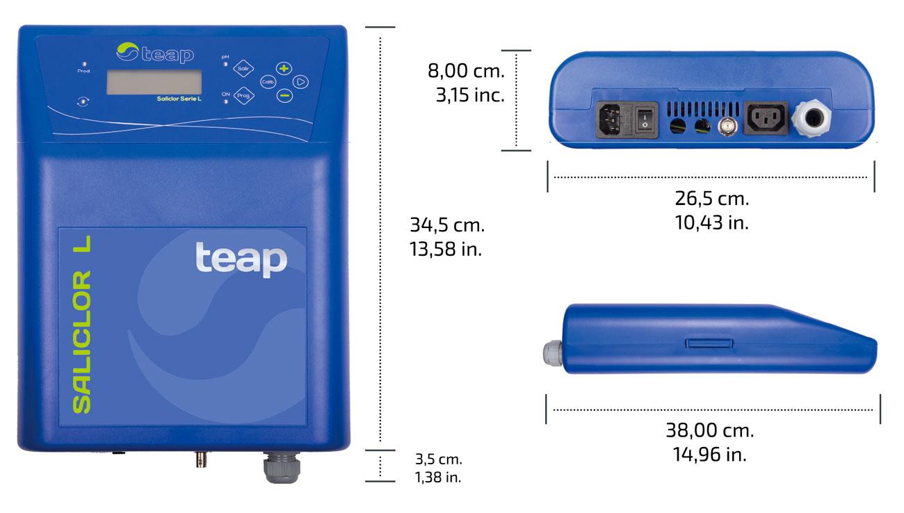 Medidas equipo de cloración salina TEAP Serie L para piscinas domésticas.